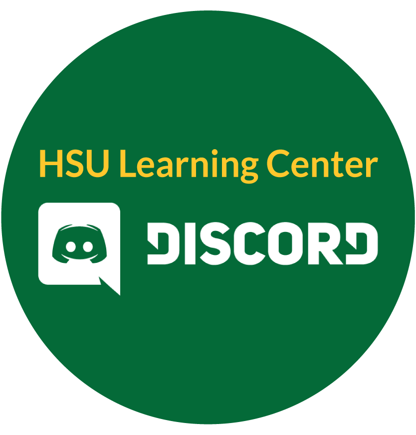 Green circe with words HSU Learning Center in gold and a white Discord Icon